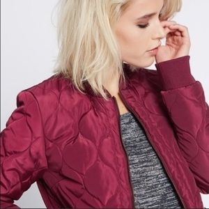 Maroon quilted bomber jacket